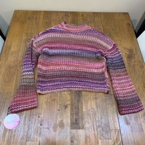 Kaisely Striped Chunky Long Sleeve Crop Sweater
